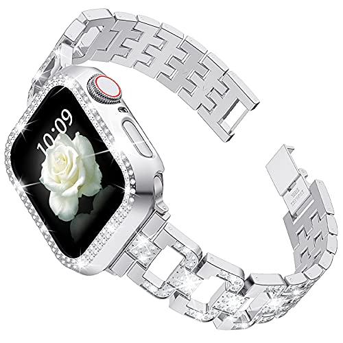 wlooo Metallo Cinturino Compatibile con Apple Watch 38mm 40mm 42mm 44mm, Glitter Uomo Donna Cristallo Diamond Regolabile Inossidabile Watchband Ricambio per iWatch Series 6 SE 5 4 3 2 1 (42/44mm)