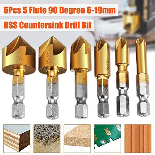 Countersink Drill Bit, Baban Countersink Drill Bit Set 6 Pcs 1/4'' Hex Shank HSS 5 Flute Countersink 90 Degree Center Punch Tool Sets For Wood Quick Change Bit 6mm-19mm