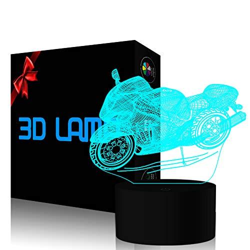 YKLWORLD 3D Illusion Lampe Motorrad LED Nachtlicht USB-Stromversorgung 7 Farbwechsel Berührungsschalter Schlafzimmer Schreibtischlampe für Kinder Weihnachts Geschenk