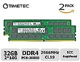 Timetec Hynix - Kit de 32 GB (2 x 16 GB, DDR4, 2600 MHz, PC4-20800, ECC registrado, 1,2 V, CL19, 2 Rx4, doble rango, 288 pines, RDIMM, memoria RAM para servidor (32 GB, kit de 2 x 16 GB))