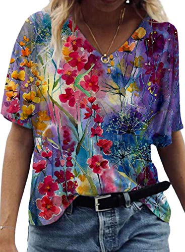 CORAFRITZ Damska letnia bluzka w kwiaty moda na co dzień bluzka T-shirt z dekoltem w serek krótki rękaw T-shirt tunika top