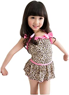 子供服 女の子 2段フリルレオパスイムウェア
