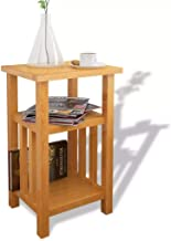 Festnight End Table with Magazine Shelf Lamp or Coffee Table Solid Oak 27x35x55 cm