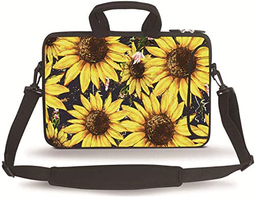 Baocool 11 11.6 12 12.5 13 inches Case Laptop/Chromebook/Ultrabook/MacBook pro air Notebook PC Messenger Bag Tablet Travel Case Neoprene Handle Sleeve with Shoulder (11-13.3 inch, Sunflower)