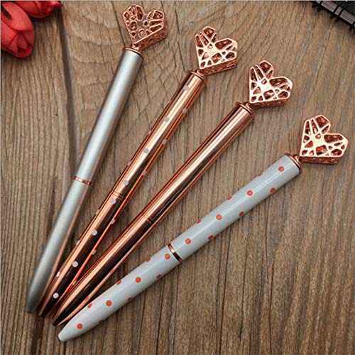 Lopbinte 5Pcs Big Crystal Diamond Pen,Heart Shaped Pen,Bling Metal Ballpoint Pen School and Office Supplies,Rose Gold/Silver/White/Purple/Gold,Includes 5 Pen Refills,Black Ink Photo #6