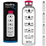HydroMATE 32 oz Glass Water Bottle with Time Marker Motivational Quotes and Times to Drink Track Daily Intake for Gym Fitness Sports Workout Hydro MATE Leak Proof Reusable BPA Free 1 Liter Red