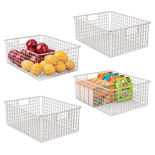 mDesign 4er-Set Allzweckkorb – der flexible Aufbewahrungskorb für die Küche, Vorratskammer etc. – großer und universeller Drahtkorb mit Griffen – mattsilberfarben
