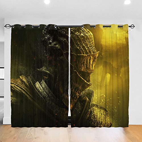 RVEVHGAHHA Dark Souls Cortina opaca térmica aislada insonorizada decorativa para sala de estar habitación de los niños/2 paneles de 152 x 172 pulgadas