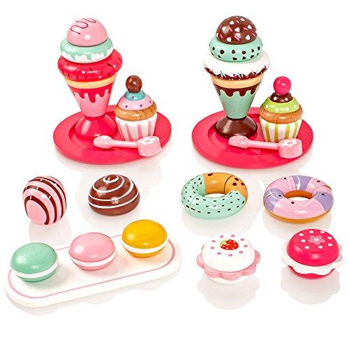 Milly & Ted Set da Dessert in Legno con Torte e Gelati - Giocattolo Playfood per Bambini in Legno - Bambini Finti Play Food