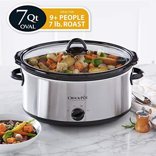 Crock-Pot 7-Quart Oval Manual Slow Cooker | Stainless Steel (SCV700-S-BR)