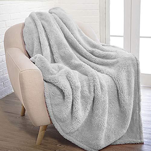 PAVILIA Fluffy Sherpa Throw Blanket for Couch Sofa | Plush Shaggy Fleece Blanket | Soft, Fuzzy, Cozy, Warm Microfiber Throw Solid Blanket, Light Grey, 50x60
