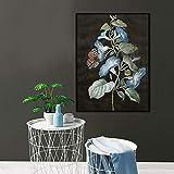 Cartel de Arte de Pared Planta Flor Lienzo Lienzo Arte Sala de Estar decoración del hogar,Pintura sin marco-60X80cm