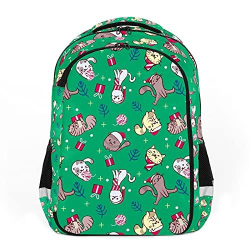 Cartoon Pet Cat colorido Navidad divertida perfecta para la escuela y mochilas de viaje, mochilas de estudiantes perfectas para todas las edades