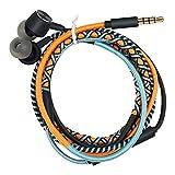 URIZONS Auriculares en el oído con micrófono y Control Remoto para iPhone iPad iPod Mac tabletas portátiles Android Smartphones Tribu Tejida a Mano Envuelta Naranja