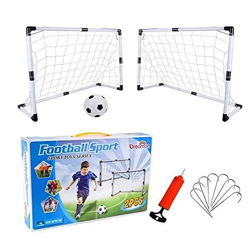 GAO-bo Regalo de Juguete para niños para niños y Adolescentes Fútbol Post Target Net Outdoor Toys Metas de fútbol Conjunto de 2 para Juegos de Patio Trasero y Entrenamiento con Bola y Bomba
