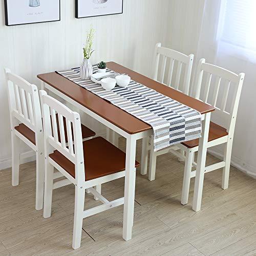 Tischgruppe mit 1 Tisch 4 Stühle Essgruppe Esstischset Sitzgruppe Esstischgruppe Esszimmergarnitur für 4 Personen Esszimmergruppe für Küche Wohnzimmer Massivholz 6116 (3.Braun/Weiß)