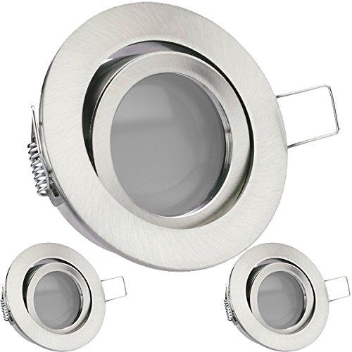 LEDANDO 3er LED Einbaustrahler Set Silber gebürstet mit 5W GU10 Leuchtmittel - DIMMBAR - warmweiss - 110° Abstrahlwinkel - schwenkbar - Einbauleuchte LED rund