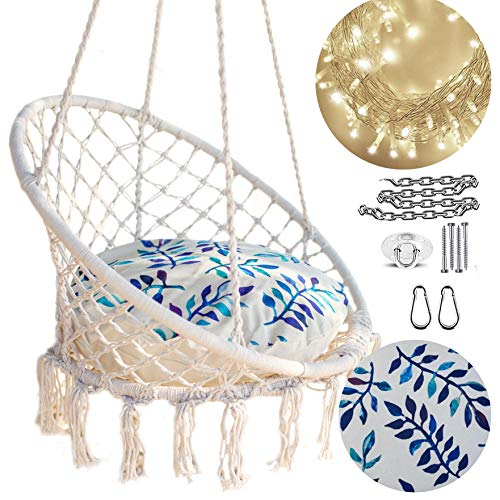NOOKSTA Macrame Hanging Chair Swing Chairs Included Cushion & Hanging KIT for Indoor Outdoor, Hammock Stand, Ceiling or Tree Swing. Blue Vine Cushion