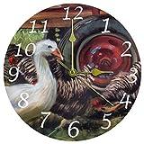 ANINILY - Reloj de pared redondo con pintura de animales de granja de ganso y gallinas, de 9,8', funciona con pilas, reloj de escritorio analógico silencioso para el hogar, oficina, escuela