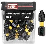 <span class='highlight'><span class='highlight'>Saxton</span></span> 24x PZ2-25mm Impact Duty Screwdriver Drill Driver Bits Sets Tic Tac Box Compatible with Dewalt Milwaukee Bosch