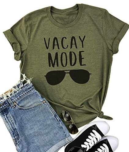 YUYUEYUE Vacay Mode Sunglasses Letter Print T-Shirt Casual Short Sleeve Top Tee Blouse (Small, Army Green)