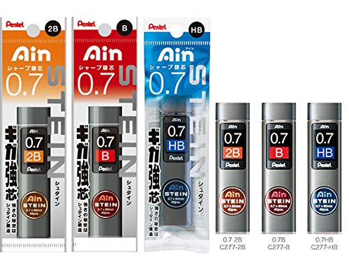 Pentel 0.7 Refill 3-piece Set 2BBHBAS for PG1017/517, Packaged Ain Stein Lead, 0.7 mm HB, B, 2B, Tube of 40pcs (XC277-HB,B,2B), 1 Each