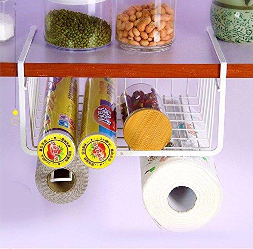 Under Cabinet Storage Shelf Wire Basket Organizer with Paper Towel Holder Hanging Kitchenware Dual Hooks for Kitchen Pantry Desk Bookshelf Cupboard White