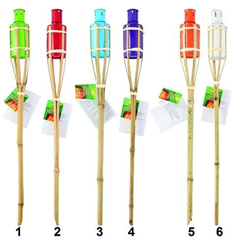 Lot de 4 Torche de jardin Bambou 60 cm - Mod 3 Bleu - Decoration Lampe Huile Insecte - 776