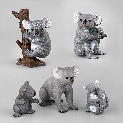 5 Stück Koala Nachahmt Tier Modell Garten Deko Figur Kinder Spielzeug spß niedlich Minipuppen Minidollhouse Landschaft Zoo Animal vierschiedene Geste PVC