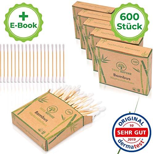 DERMATEST: SEHR GUT - TRUE NATURE® [600 Stück] Zero Waste Bambus Wattestäbchen - ohne Plastik - GRATIS E-Book - 100% Biologisch abbaubare Alternative