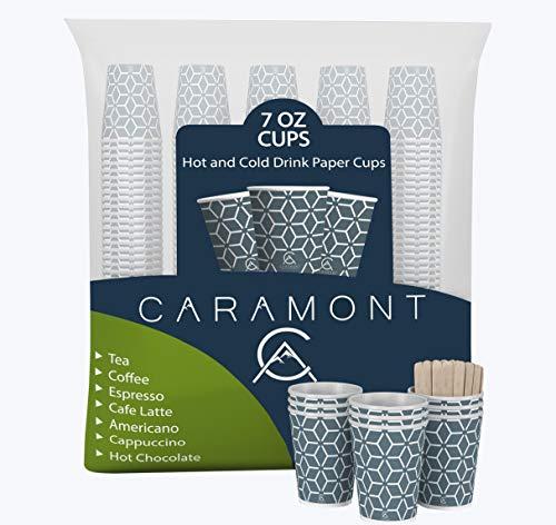Caramont,400 Vasos de Cartón ,7 onzas con Agitadores de Madera,Ecológicos y Desechables,Resistentes al Calor,Ideales para Café,Té,Cumpleaños,etc.