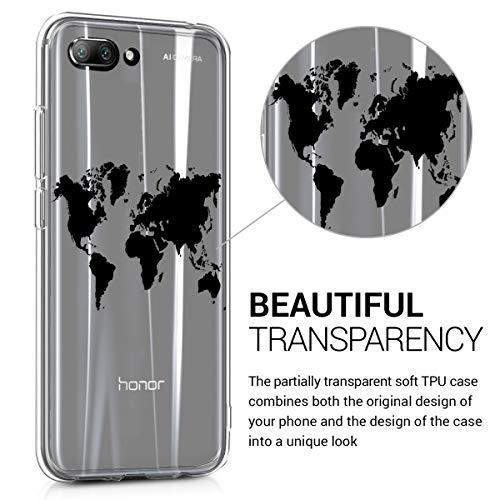 kwmobile Huawei Honor 10 Hülle - Handyhülle für Huawei Honor 10 - Handy Case in Travel Umriss Design Schwarz Transparent - 3