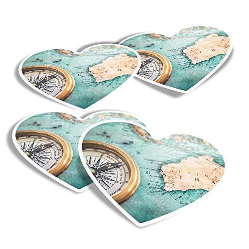 Pegatinas de vinilo con forma de corazón (juego de 4) – Vintage Australia Mapa brújula Viaje Divertido Calcomanías para portátiles, tabletas, equipaje, reserva de chatarra, frigoríficos #24322