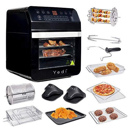 Yedi Total Package Air Fryer Oven XL, 12.7 Quart, Deluxe Accessory Kit, Recipes, BPA-Free, Auto...