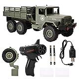 Camion Militaire RC, 2.4G Camion Militaire à télécommande Voiture 6WD Off-Road Crawler Jouet Cadeau pour Enfants Adultes(Vert armée)