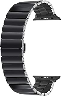 YOUKEX Ceramic 38mm 40mm 42mm 44mm Watch Band for Apple Watch Series 5 4 3 2 1 Black