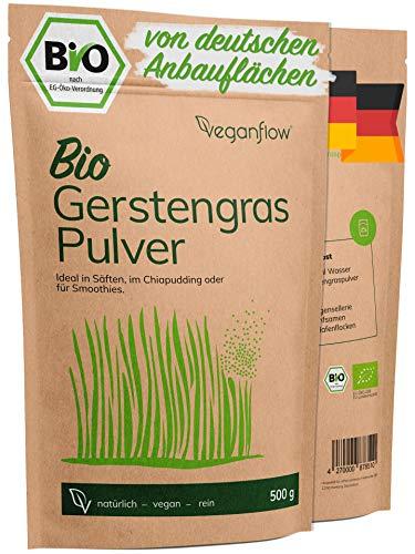 veganflow® Poudre d'herbe d'orge bio - 500 g - En poudre d'herbe d'orge bio pure et certifiée en laboratoire - Pour smoothies, végétalien