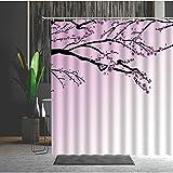Duschvorhang 180X180 Rouge Puder Pfirsichblüte Duschvorhang Anti-Schimmel & Wasserabweisend Shower Curtain, Duschvorhänge mit 12 Haken,Duschvorhang Textil Waschbar,Polyester