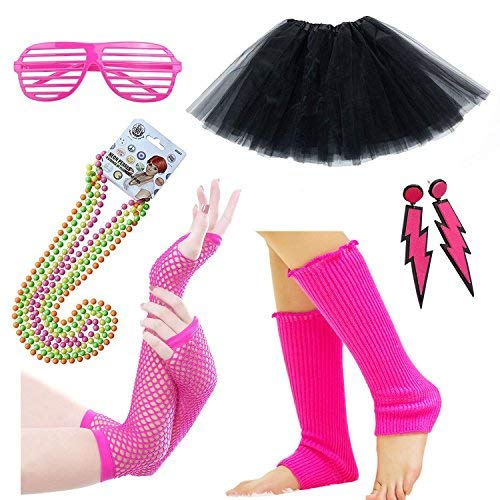 1980s Costume Accessories Set with Skirt - choice of colours