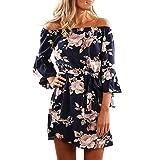 CLOCOLOR vestido corto para mujer 3/4 mangas con volantes mini falda hombros descubiertos estampado de flores vestido vintage casual para playa de moda, Azul, Small
