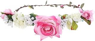 MOPOLIS Women Rose Flower Crown Hairband Wedding Garland Headband Festival Headdress | Color - Pink