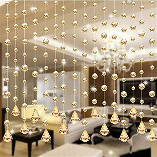 Crystal Clear Garland Hanging Bead Curtain,Clear Iridescent Faux Crystal Beaded Curtain Door String Curtain Wall Panel Fringe