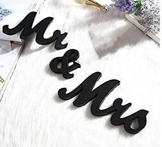 Do4U Modern Vintage Style Mr and Mrs Sign Mr & Mrs Wooden Letters Wedding Sign Mr and Mrs Sign for Wedding Table,Photo Props,Party Table,Top Dinner Christmas Decorations (Black)