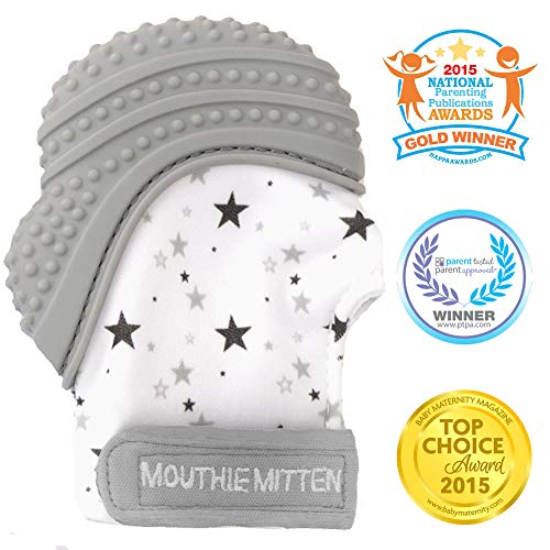 12 mois pink Moufles Gant de dentition bebe,Baby Mitten apaisante Pain Relief Silicone mitaine de dentition sangle r/églable /Âge 3