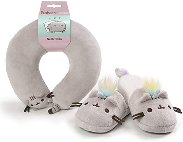 GUND Pusheen Slippers And Pusheen Neck Pillow Travel Comfort Set