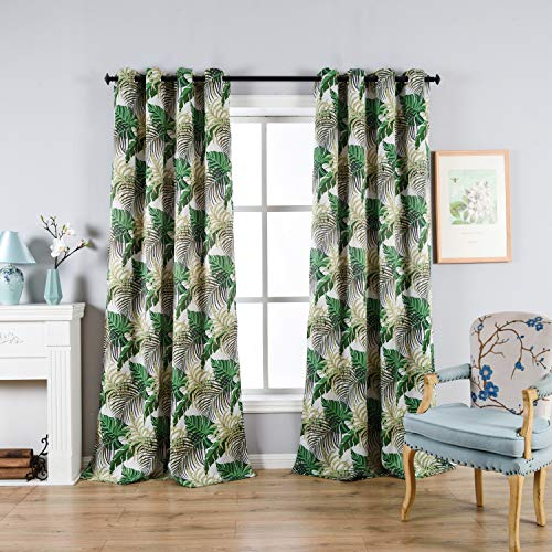 Fresh Country Style Printed Design Room Darkening Blackout Curtain Panels Grommet Top, 2 Panels W52 x L84 inch