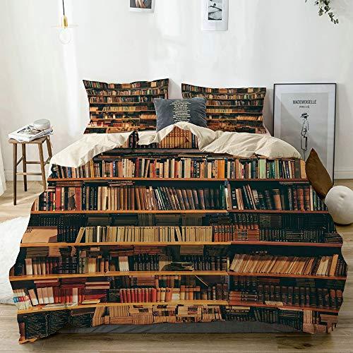 QINCO Bedding Juego de Funda de Edredón,Beige,Biblioteca Estuche de Libros con estantería de Libros Bookworm,Microfibra SIN Relleno,(Cama 240x260 + Almohada)