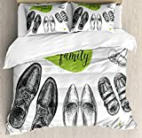 King Size Bedding Duvet Cover Set Family Cover Set We Are Family Words on a Green Speech Bubble with Family Shoes Sketch 3 Piece Bedding Set Apple Green Black White Bed Quilt Cover for Decor