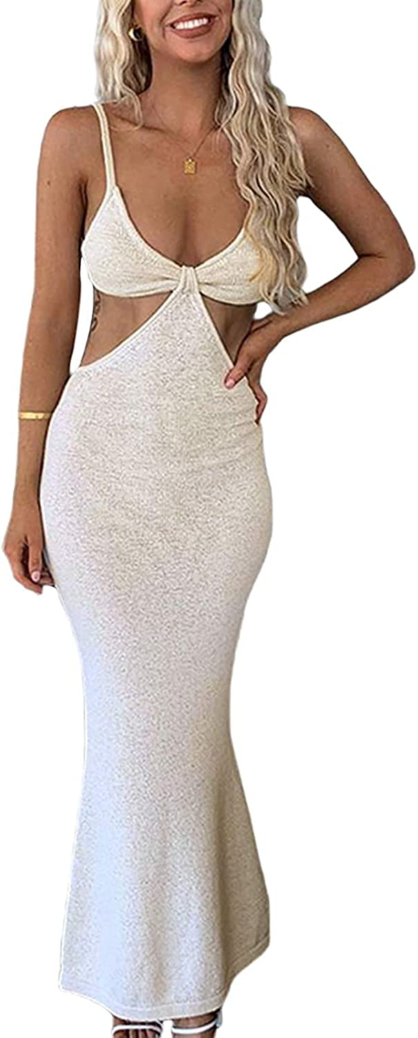 QILINXUAN Womens Sexy Knitted Cut Out Backless Spaghetti Strap Bodycon Long Dress Club Party Maxi Dresses