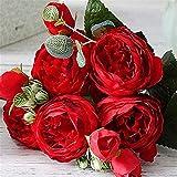 HGDD Künstliche Blumen Mode Schöne Pfingstrose Künstliche Rose Blumen Hochzeit Dekoration Seidenblumen Blumenstrauß Weiße Pfingstrose Rote Rose Gefälschte Blumen (Color : Red)